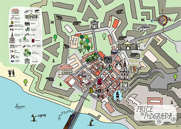 Map Of Suburbium Mapa Podgrađa Petrovaradina On Pantone Canvas