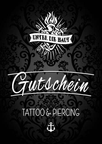 gutschein tattoo piercing unter die haut on behance. Black Bedroom Furniture Sets. Home Design Ideas