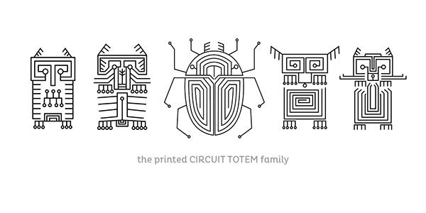 printed circuit totem animals on behance