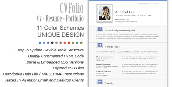 cv folio cv  resume  portfolio email newsletter template on behance