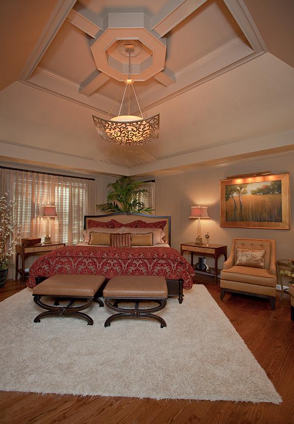 stunning master bedroom features unique ceiling detail custom bedding