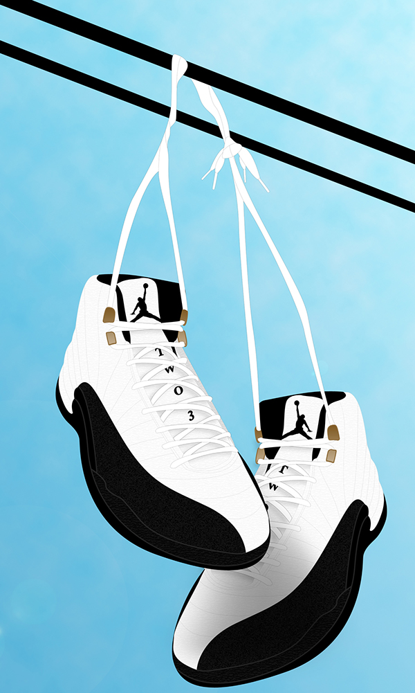 Jordan tennis shoes hanging geo designs unlimited for Hang photos from wire