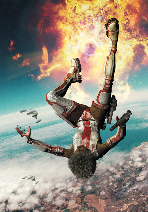 Cover Art explosion science fiction SKY warfare woman action