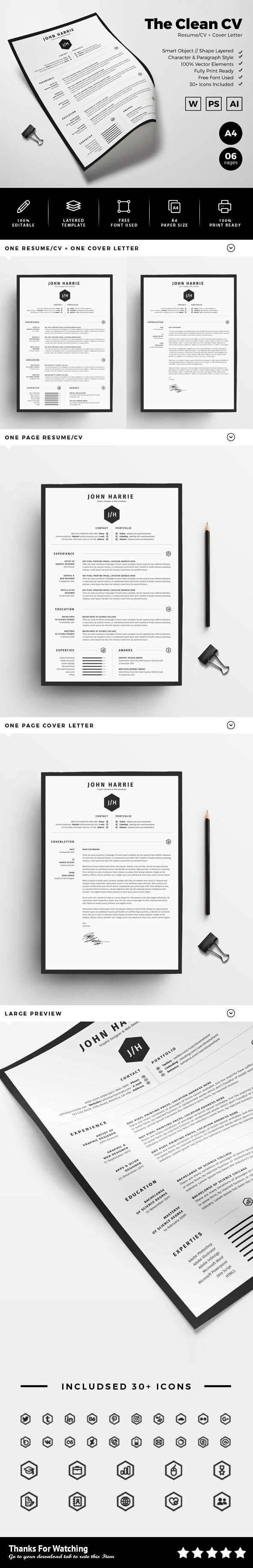 clean minimal professional creative modern infographic Resume/CV swiss elegant 02 piece