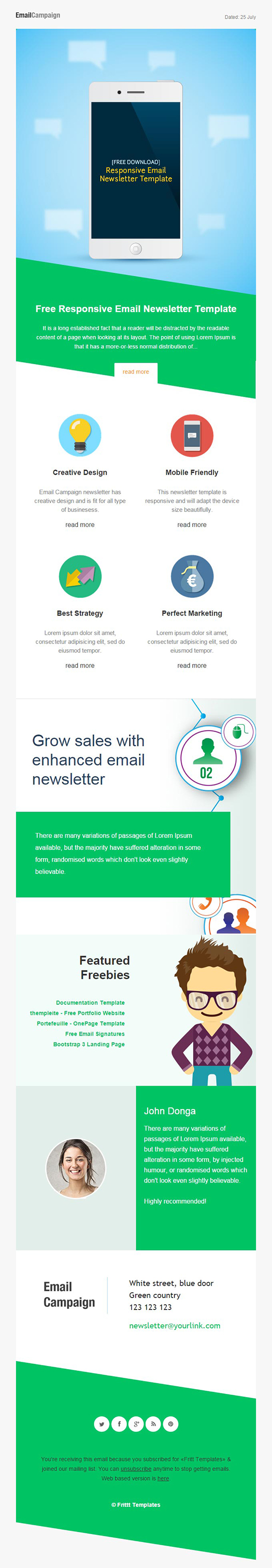 Responsive Email Newsletter Template FREE DOWNLOAD On Behance - Bootstrap newsletter template