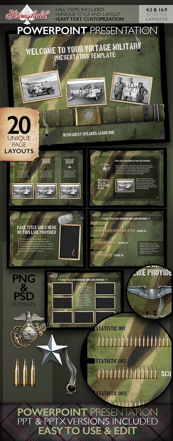 Vintage military powerpoint presentation on behance about here is a great military styled powerpoint presentation template matches perfectly with our vintage military flyers and will look great when toneelgroepblik Images