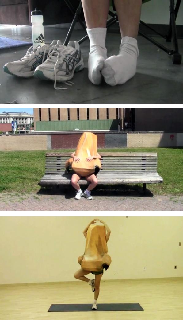 Jenny Acosta MICA paper mache video performance art running nose runny nose costume