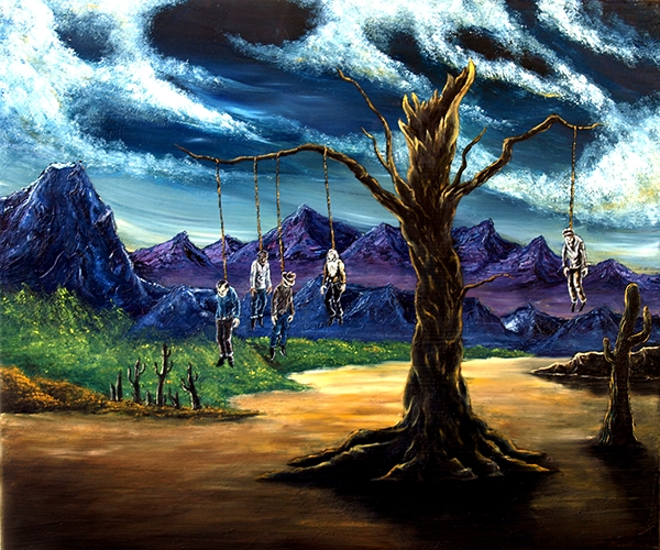 Evil bob ross series on behance a collection of macabre oil paintings modeled after the bob ross painting method voltagebd Choice Image