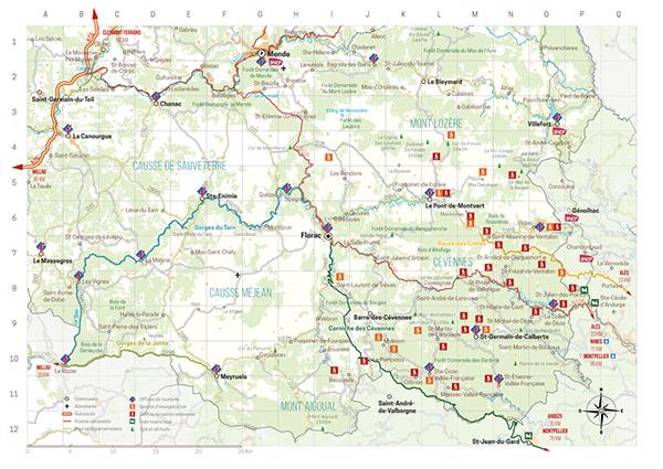 cartographie, carte touristique, office de tourisme, carte, graphiste, lozère, cévennes, julie mercey