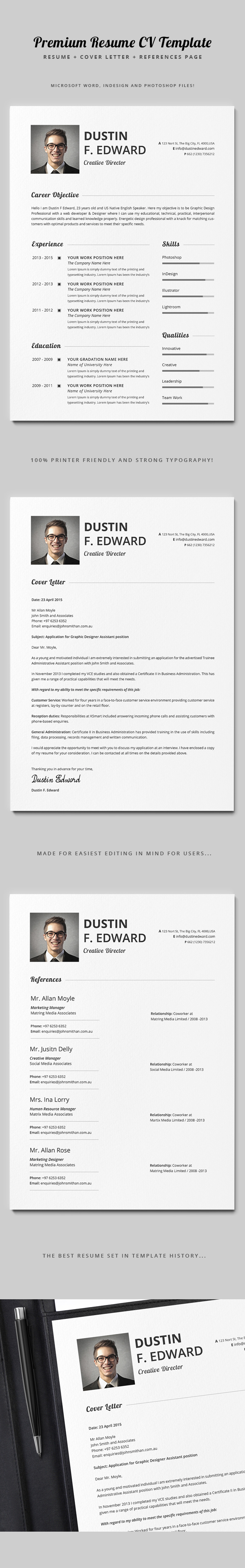 premium resume cv template set on behance a 3 pieces premium resume set designed for any creative organization to express you in this main you will be able to create your own fully