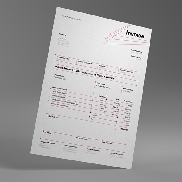 dsignd proposal swiss design with invoice on behance