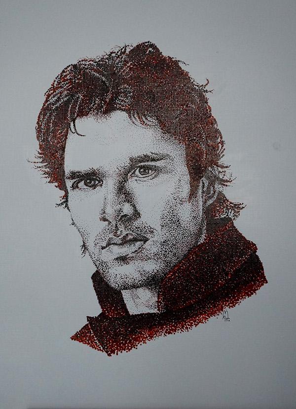 portrait scratchboard Black&white dotwork