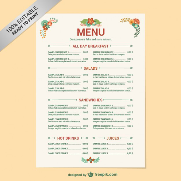 Editable restaurant menu template on Behance