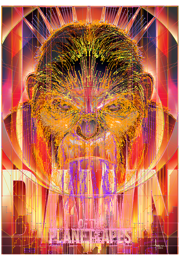 vector Illustrator arocena planetoftheapes apes movie poster gradients DAWN city popdeco pop eyes fiery
