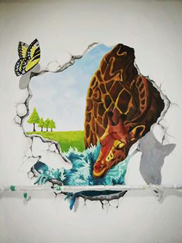 3d Trick Art Wall Painting On Behance