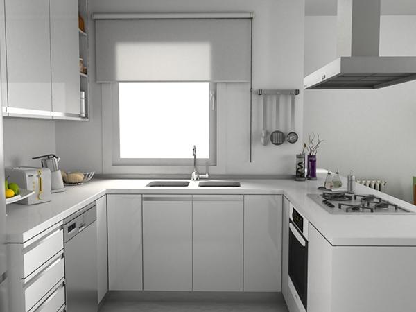 Cocina blanca sobre suelo de microcemento on behance - Cocinas de microcemento ...