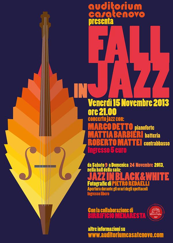 flat design Typographic composition jazz Fall autumn