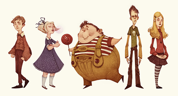 Character Design Course Description : Charlie and the chocolate factory character designs on