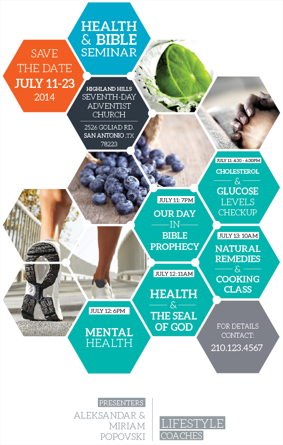 bible and health seminar flyer on behance