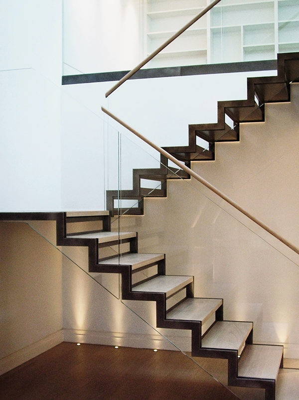 canal architectural canal engineering Staircase north audley Straight stairs open Risers coated mild steel staircase toughened oak