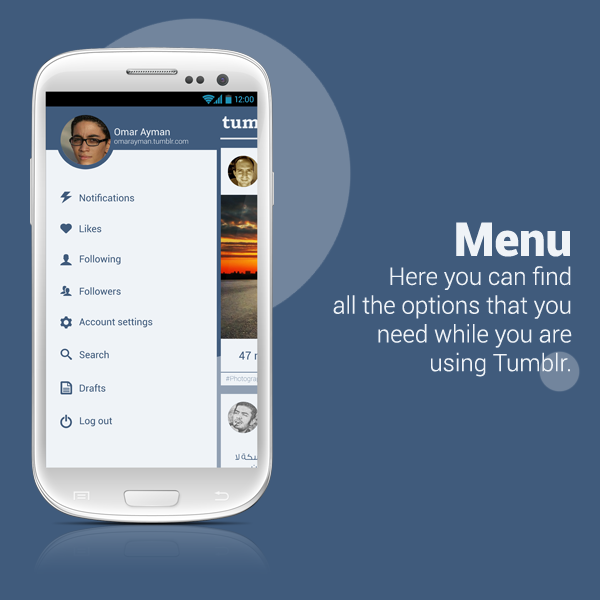 Tumblr  android app redesign on Pantone Canvas Gallery