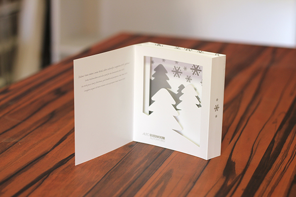 christmas card christmas Tree snowflakes windows 3D paper die cutting offset