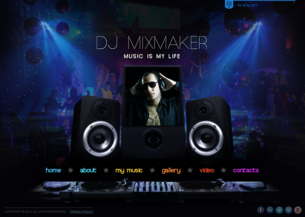 Dj mix maker music is my life html5 template on behance for Dj biography template
