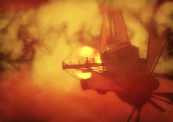 sunset STEAMPUNK ship