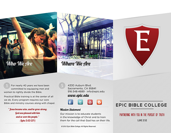Epic Bible College Intro Brochure On Behance