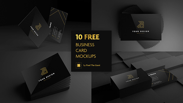 10 Free black business card mockups