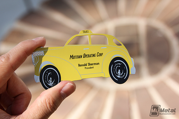 Yellow taxi metal business cards on behance check out these custom taxi cab shaped stainless steel cards we produced for midtown operating corp these cards utilize our chemical etching and dual colourmoves