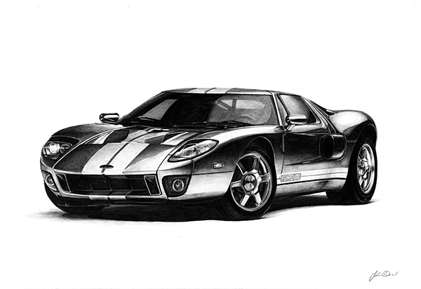 A Sized Graphite Drawing Of A  Ford Gt