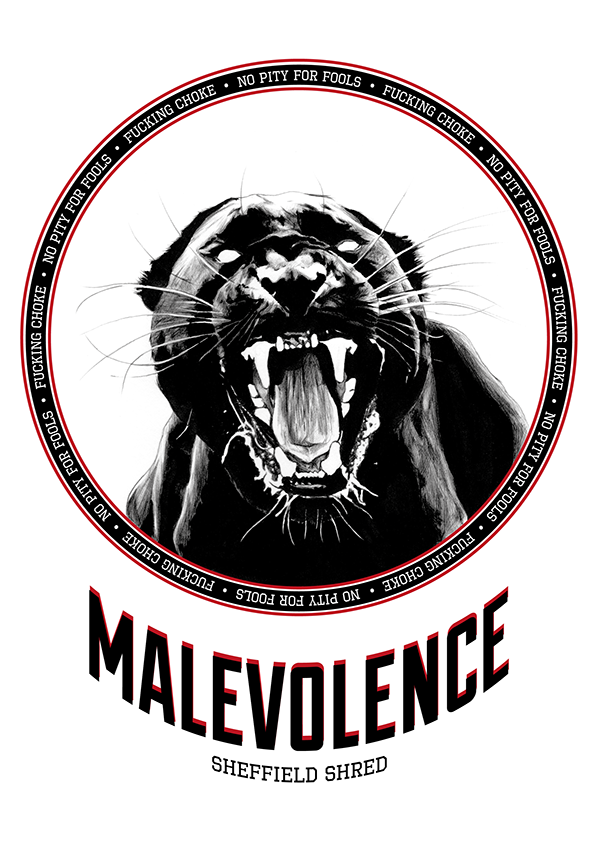 Malevolence sheffield panther merchandise ballpoint pen wild cat feral beast Hardcore growling growl Attack lunging black and white arnold leva