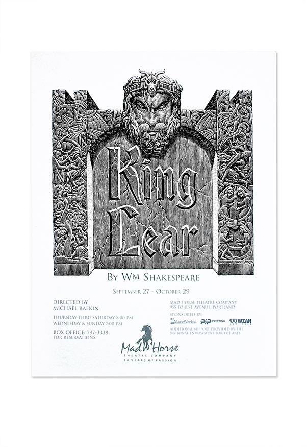 King Lear Play Poster For Mad Horse Theater