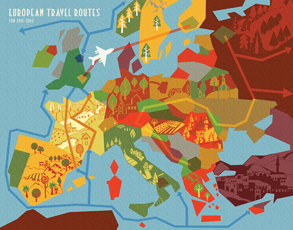 Abstract Map Of European Travel Routes On Pantone Canvas Gallery