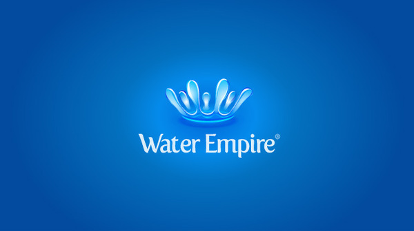water drop making a crow blue logo with 3d effect