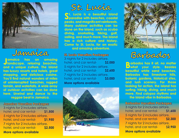 Caribbean island travel brochure project on behance for Island brochure template