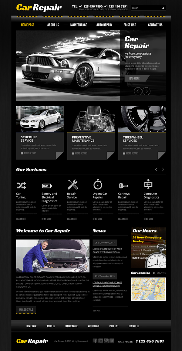 Car Repair Service Twitter Bootstrap HTML Template on Behance