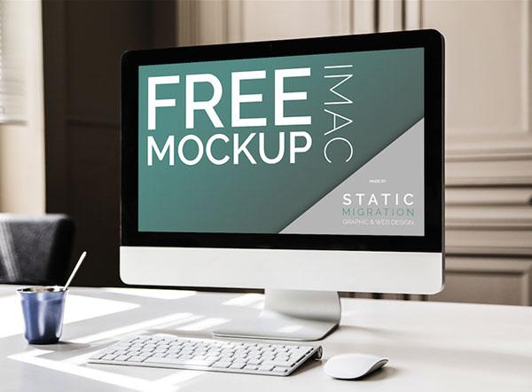 iMac free Mockup Webdesign presentation psd smart object