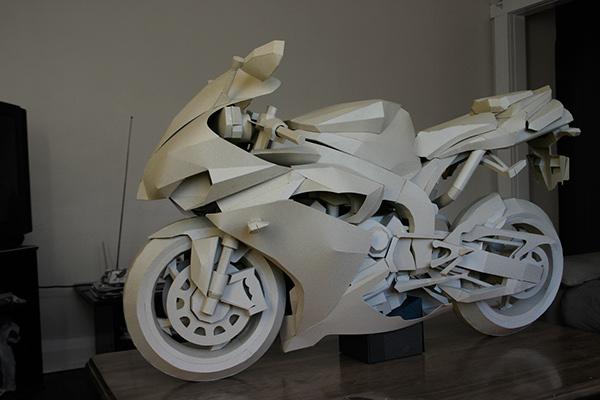 cardboard motorcycle model craft  art