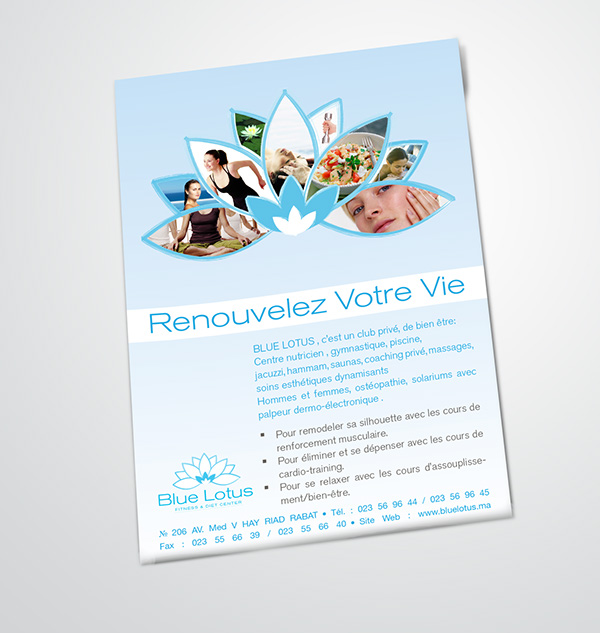 Bluelotus projet de fin d 39 tude on behance for Club piscine flyer