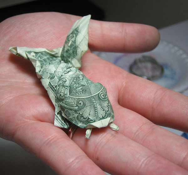 Dollar bill origami on behance for Dollar bill koi