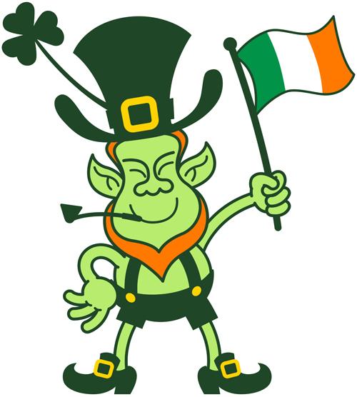 St Paddy's leprechaun waving an Irish flag