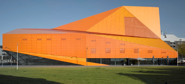 architect,UNStudio,Triangles,orange,exhibit,Invitation,origami ,bus,banner,ad,geometry,moma