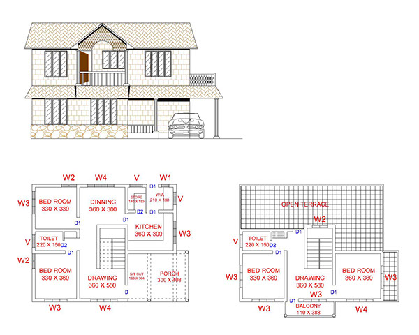 Autocad Villa Drawings