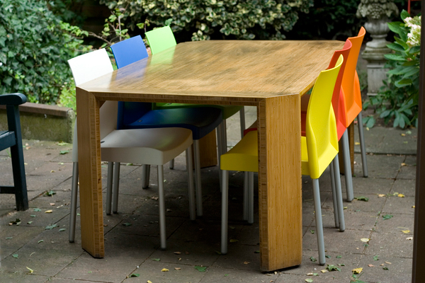Facet Table table. bamboo garden furniture