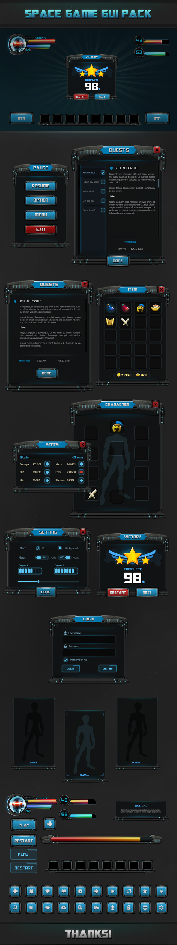 Fantasy - Space game gui Pack on Behance