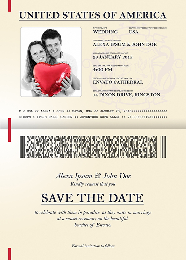 Passport wedding invitation save the date on behance for Save the date passport template