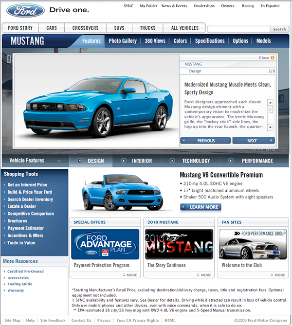 2010 ford mustang website on behance