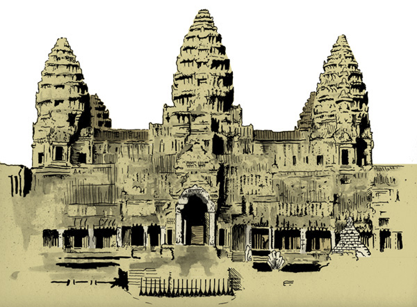 Cambodia Angkor Wat Drawing Detail Angkor Wat Cambodia